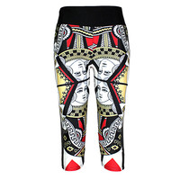 New Slim Hip Women Mid-Calf Leggings Sexy Playing CARDS Digital Print Fitness Yoga Cropped Trousers Elastic Breathable Capris
