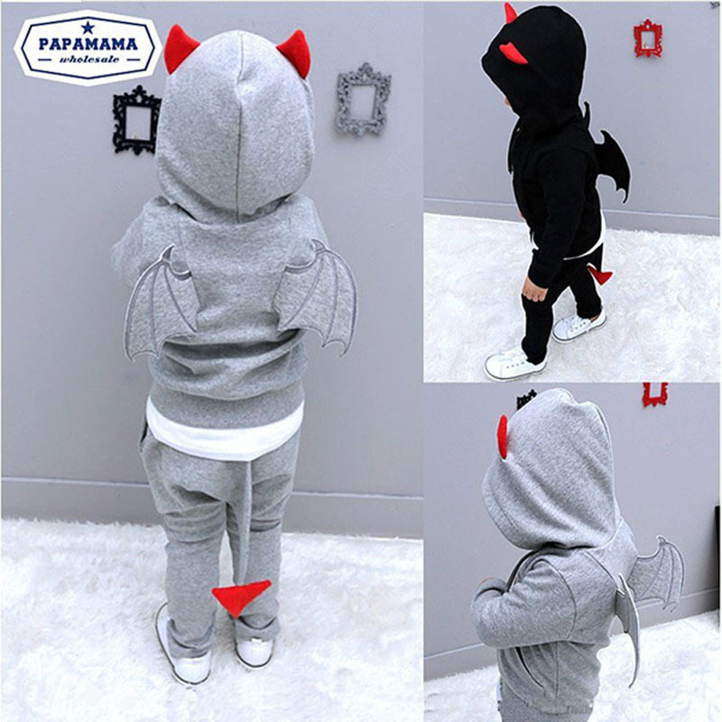 Baby Boy Clothes Little Devil Theme Hoodie With Devil's Wings+Pants With Tails 2 pcs Kids Clothing Set Halloween Baby Costume