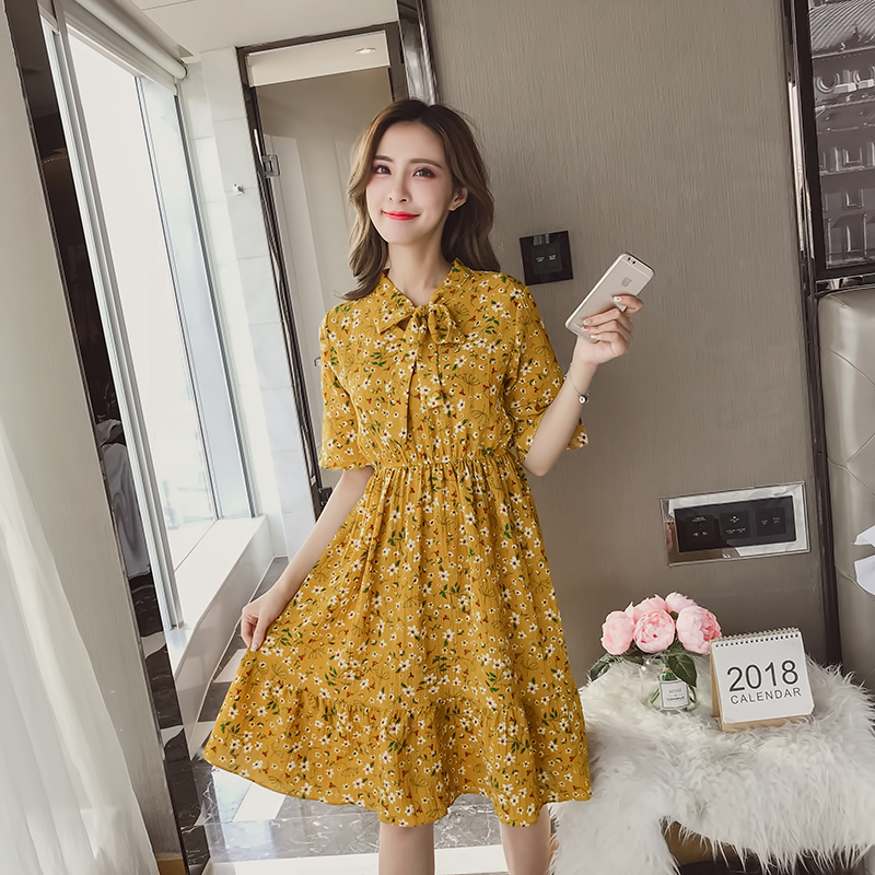 2018 Summer Autumn Chiffon Print Dress Casual Cute Women floral Long Bowknot Dresses Long Sleeve Vestido in Dresses from Women 39 s Clothing