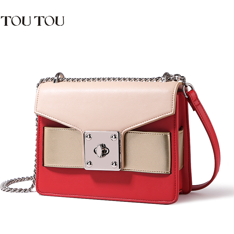A1631 TOUTOU brand Mixed colors Fashion pu Leather Metal Chain Small Square  Bag Women Crossbody Messenger  Flap Shoulder Bags 2017 fashion all match retro split leather women bag top grade small shoulder bags multilayer mini chain women messenger bags