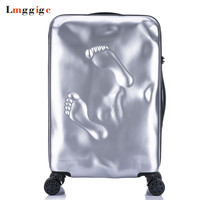 Vintage Rolling Luggage Suitcase bag,PC Travel Trolley Case with Footprints,Fashion Wheel Lockbox,Personality Password box