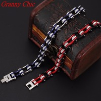 Granny Chic Bling Motorcycle Crystal Bracelet Stainless Steel Jewelry Black Red / Silver Blue Bicycle Motor Biker Women Bracelet