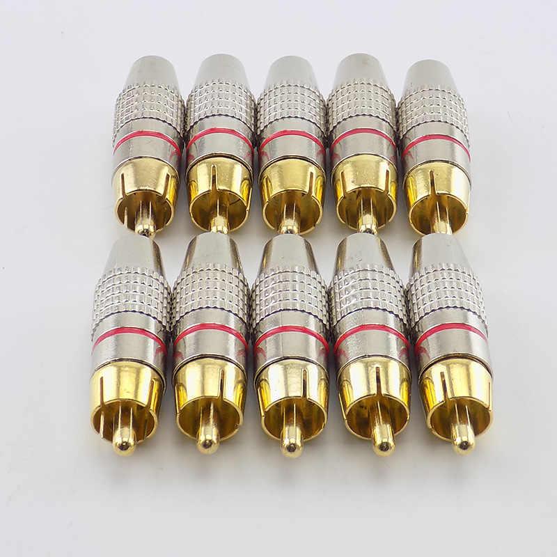1/4/10 Pcs RCA Male Konektor Non Solder Adaptor Steker untuk Kabel Audio Plug Video Kamera CCTV solder-Gratis Kuantitas Tinggi