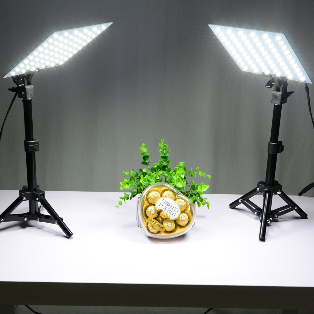 LED Video Light Kits Small Photo Studio Softbox Shooting Mini Box 2Pcs45cm Stand 2PcsLED Board 4PcsClips