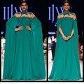 Popular de oriente medio estilo verde etapa muestran vestido palabra de longitud satinado una línea de celebridad vestido Appliqued sin mangas de cuello alto