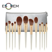 ESOREM 12pcs Pearl White Cosmetic Makeup Brushes Set With Bag Contour Brush Tapered Crease Angled Pinceaux Maquillage