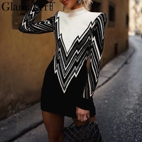 Glamaker Sexy knitted bodycon contrast pullover Women high neck christmas sweater jumper winter Femme streetwear casual sweaters