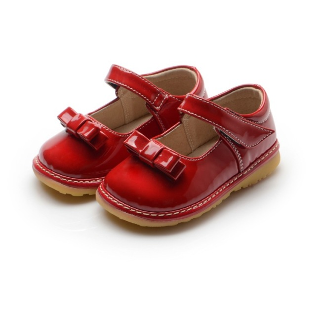 1-3Y Sping Autumn Princess Girl Shoes Wedding Dress Shoes Dark Red Baby Girl Nonslip Squeaky Shoes