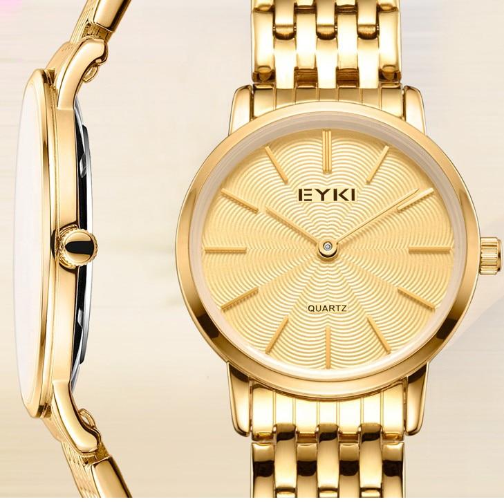EYKI Luxury Brand Watches Women Stainless Steel Quartz Watch Thin Dial Double Pointer Ladies Dress Wristwatch