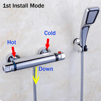 Stainless Steel Temperature Control Thermostatic Shower Faucet Valve Ceramics Double Handles Hot And Cold Mixer Tap