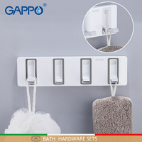 GAPPO Bath Hardware Sets bathroom accessories wall mount bathing product hanging hooks white color bath hardware sets