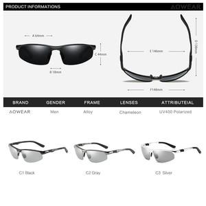 Image 5 - AOWEAR Photochromic Sunglasses Men Polarized Day Night Driving Glasses High Quality Aluminium Rimless Chameleon Eyewear Gafas