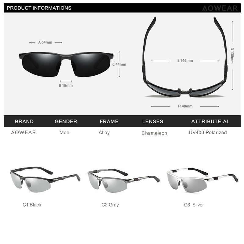 ... AOWEAR фотохромные солнцезащитные очки мужские поляризованные очки  Хамелеон мужские изменить цвет солнцезащитные очки HD День ночного ... 354253c8140