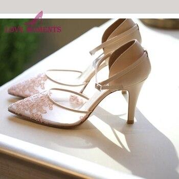 2019 puntiagudos champagne lace zapatos para novia 8cm tacón fino hebilla correas boda fiesta prom bombas satinada bonita zapatos