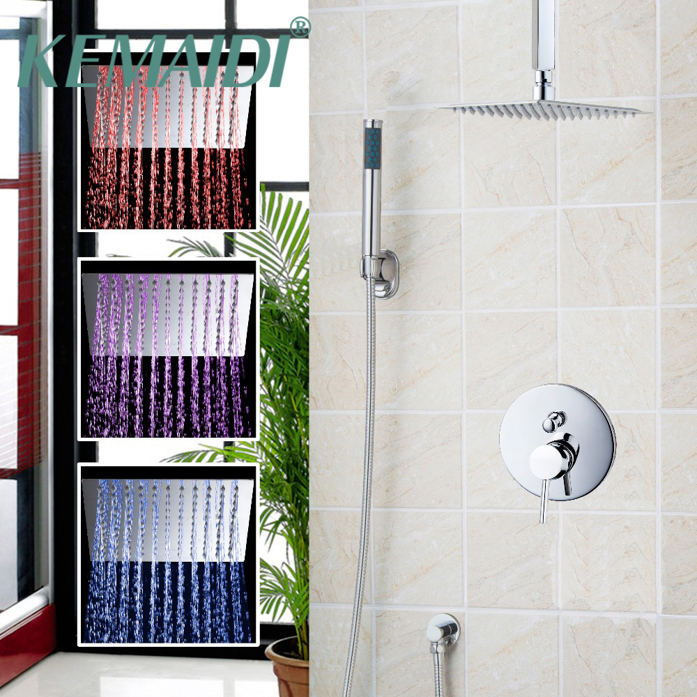 KEMAIDI Rainfall Shower Faucets Luxury Polished Chrome Square LED Wall Mount Shower Set + 8