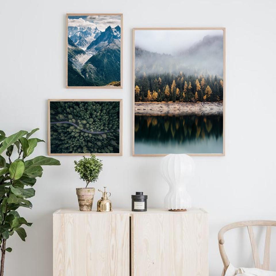 Nordic Dekoration Wald Lanscape Wand Kunst Leinwand Poster und Druck Lake Mountain Dekorative Bild für Wohnzimmer Wohnkultur-in Malerei und Kalligraphie aus Heim und Garten bei