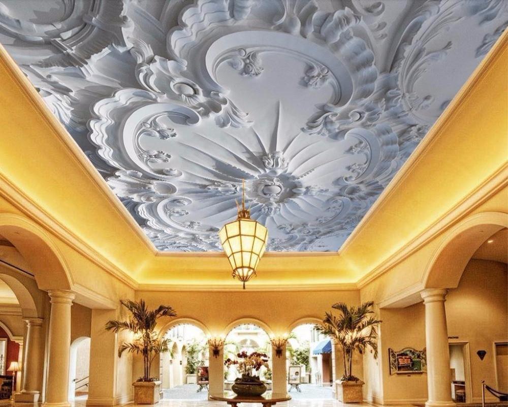 custom modern wallpaper 3d Ceiling Embossed pattern photo ...