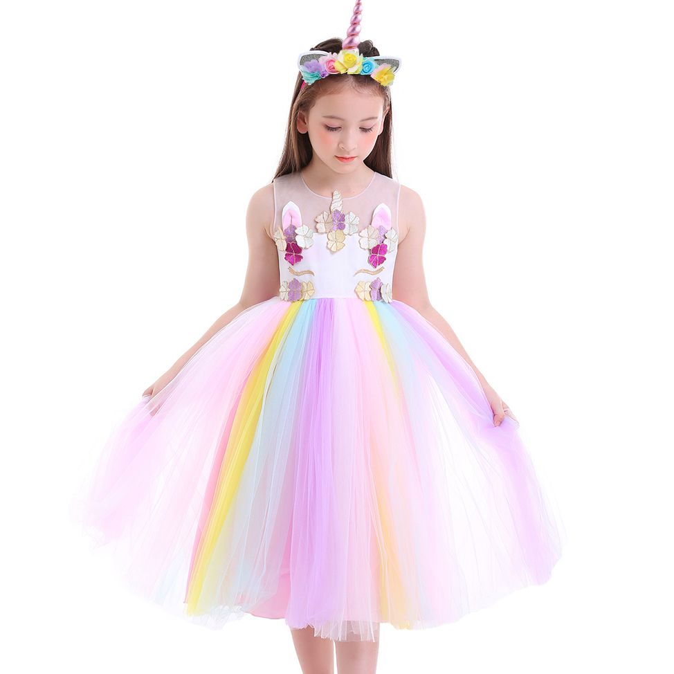 2409aeb339d0b US $25.99 49% OFF|2pcs Set Kid Girls Dress Rainbow Unicorn Fancy Dress Up  Princess Dress + Headband Birthday Party Girls Clothes Set Outfit 4 12Y-in  ...