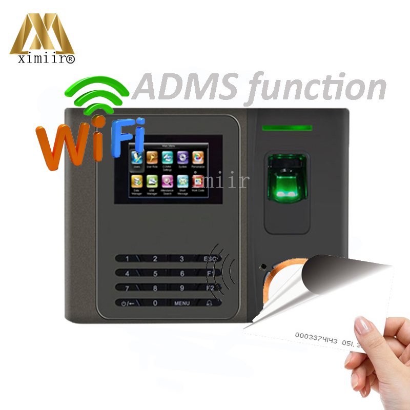 TCP/IP Biometric Fingerprint Time Attendance System WIFI ADMS Back Up Battery SDK Software Develop 125KHZ Card  Free Shipping