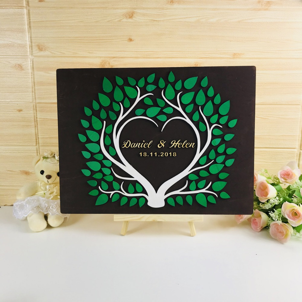 Custom 3D Tree Wedding Guest Book,Frame with Custom Name & Date Love Signature Book, Rustic Guestbook Wedding Ideas decor image