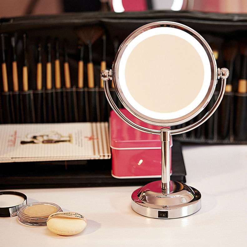 Girls Beauty Makeup Mirror With Light Cosmetic Side