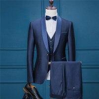 RUELK 2018 мужские деловые костюмы мужские костюмы женихов брак Женихи мужчины три части костюмы Красивый lue костюм