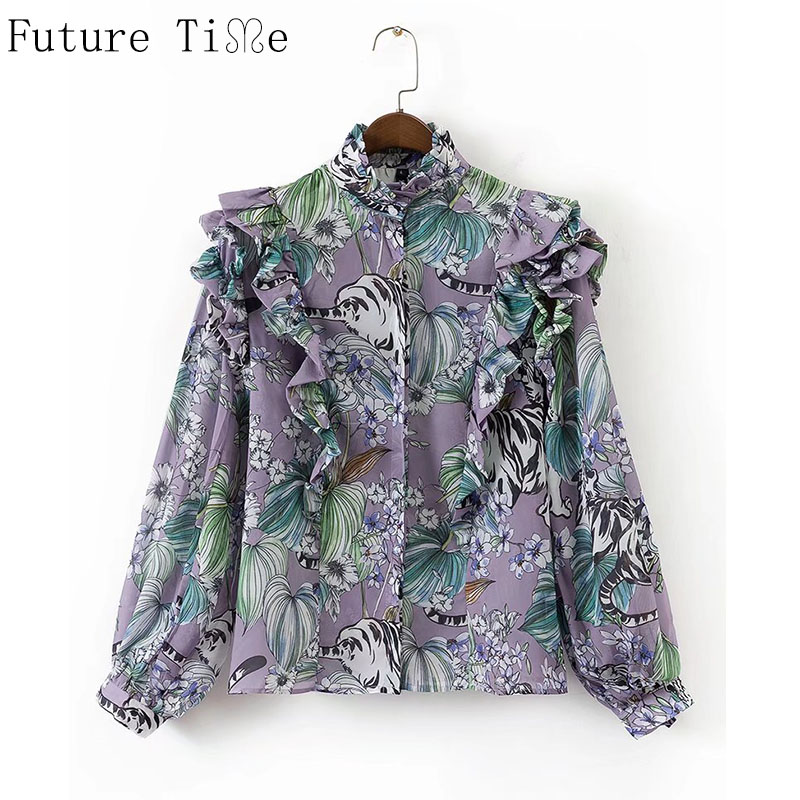 Future Time Women Ruffles Blouse Floral Print Long Butterfly Sleeve Shirts Stand Collar Shirts Office Lady Shirts blusa SC479
