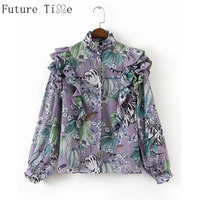 Future Time Women Flower Print Long Butterfly Sleeve Ruffle Shirts Bow Shirts Office Lady Long Tops