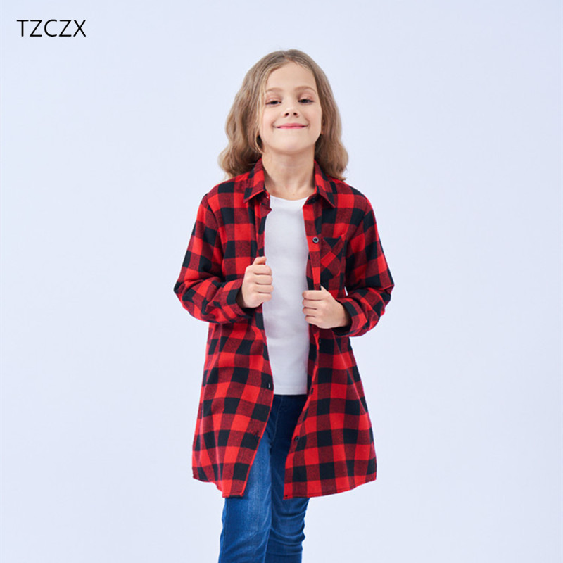 Girls Blouses Casual Plaid Flannel Long Style Children blouses Clothing Fit for 3-12 Year wear
