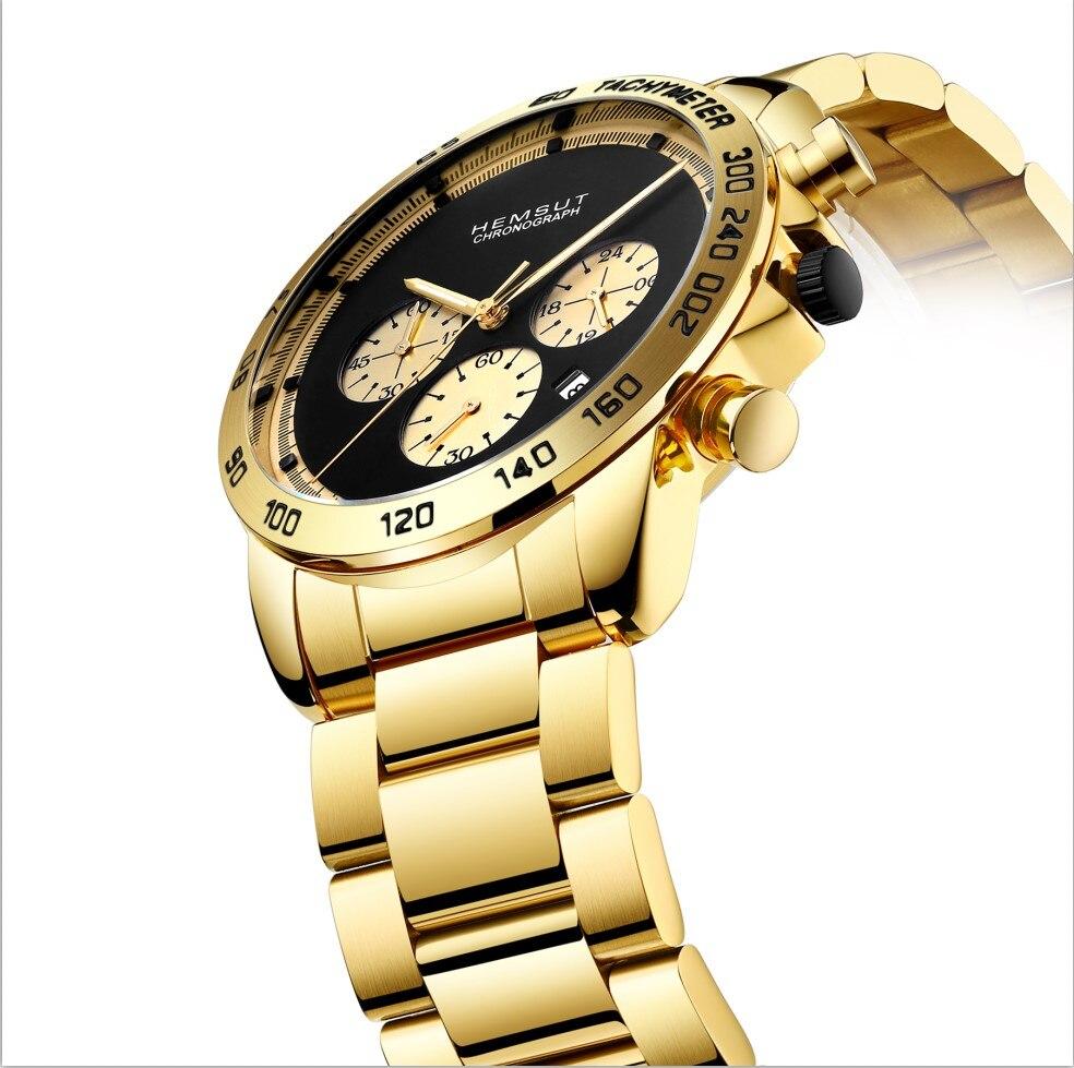 HEMSUT TOP Brand Gold Men Watch Luxury Quartz Watches Men 3ATM Water Resistant Quartz Timepieces Wrist
