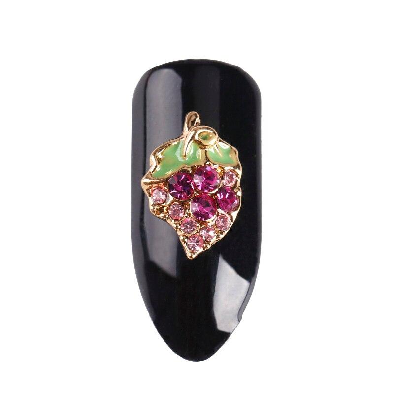 10 шт./лот металла frute серии 3d блеск стразы для украшения искусства ногтя green leaf сияющий фиолетовый алмаз прелести поставки