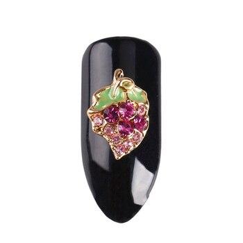 10 шт./лот Металл Frute серии 3D Блеск Стразы для Дизайн ногтей украшения зеленый лист Сияющий фиолетовый алмаз талисманы поставки