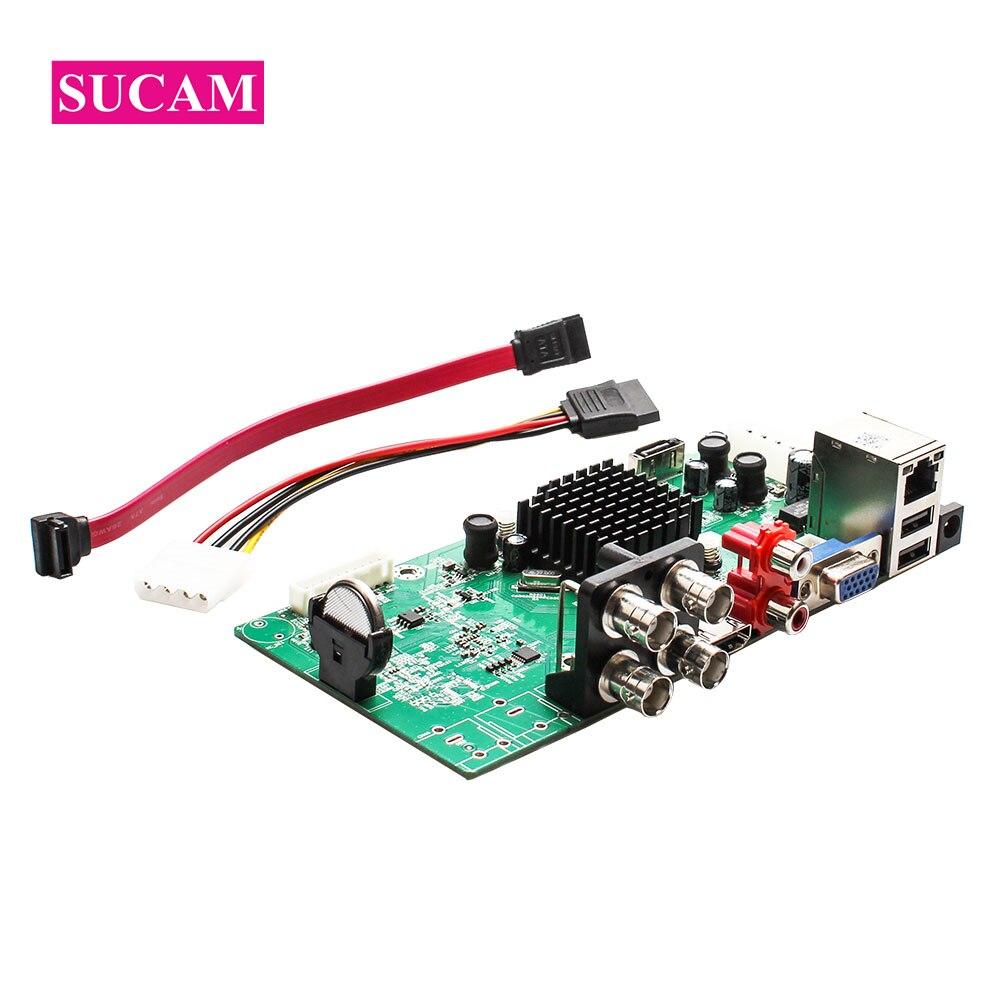 цены SUCAM 4Channel AHD CCTV Camera DVR System Surveillance Digital Video Recorder Board for 1080P AHD TVI CVI IP Cameras