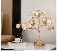 Золотой Керамика Стол Lights кристалл настольные лампы девушка комната хрустальные настольные светильники Гостиная Спальня декоративный све