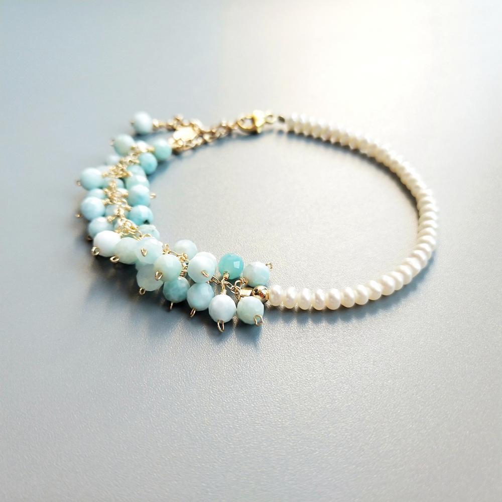 087370c544fe Lii Ji genuino Natural Larimar perla blanca de agua dulce 9 K cadena ...