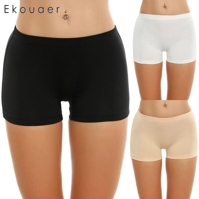 a18fafeaa9c7 Ekouaer 3 Pcs/lot Panties Women Underwear Solid Casual Boyshort Panty  Breathable Comfortable Mid Waist Plus Size S M L XL XXL