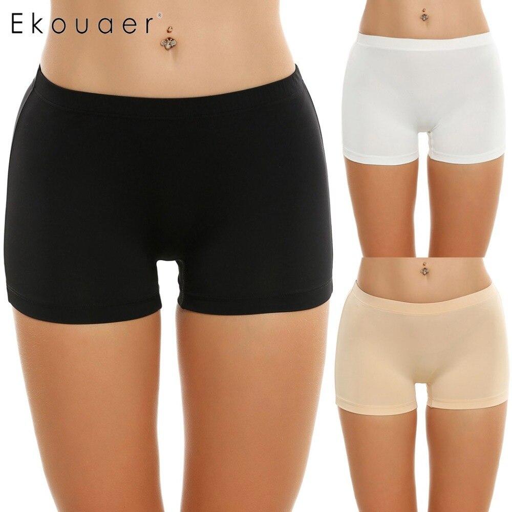 Ekouaer 3 Pcs/lot   Panties   Women Underwear Solid Casual Boyshort   Panty   Breathable Comfortable Mid Waist Plus Size S M L XL XXL