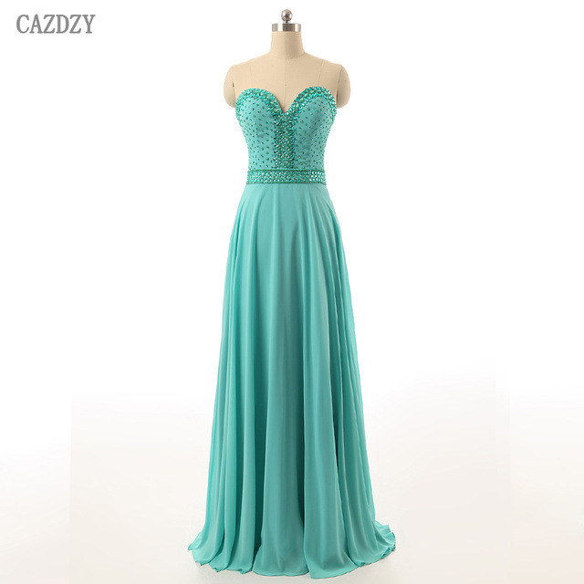 CAZDZY Real Photos Turquoise Sweetheart Prom Dresses Long Crystal Beaded A  Line Chiffon Women Dress Vestido De Festa 9e829ba394a4