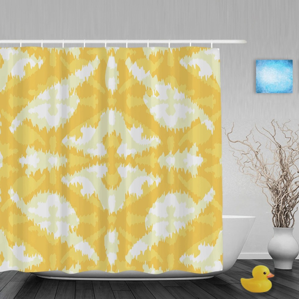 Yellow patterned curtains - Abstract Yellow Persian Pattern Decor Bathroom Shower Curtain Seamless Shower Curtains Waterproof Polyester Fabric With Hooks