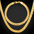 Bracelet And Necklace Set Men Chain Men Costume Jewelry Trendy Gold Plated Dubai Jewelry Sets NH228