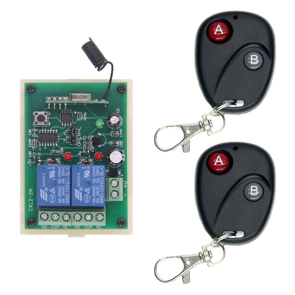 DC 12V 24V 2 CH 2CH RF Wireless Remote Control Switch System,Black Transmitter + Receiver,315/433 MHz,Jog 12v 2ch rf wireless remote control switch system transmitter