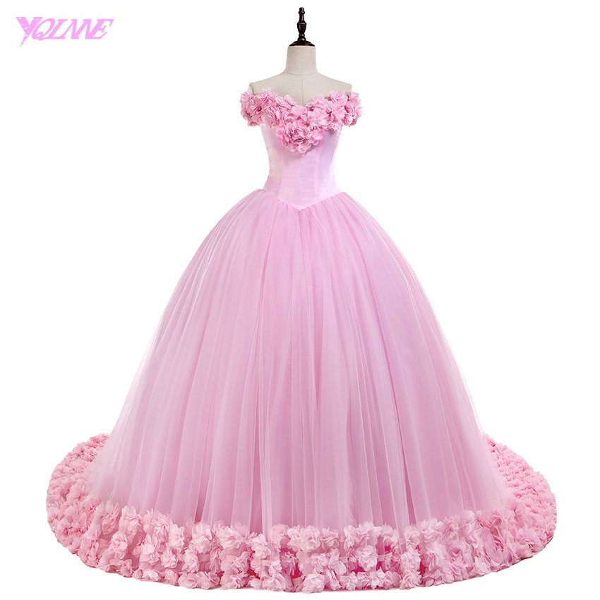 b861b561ac YQLNNE Debutante Off the Shoulder Quinceanera Dresses Sweet 16 Dress Pink  3D Flowers Tulle Lace-up Ball Gowns Vestidos De 15