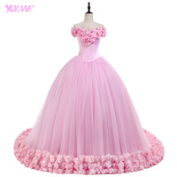 YQLNNE Debutante Quinceanera Dresses Ball Gowns Off The Shoulder Pink Flowers Tulle Lace Up Sweet 16