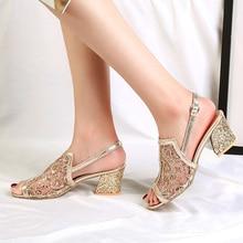 Большие размеры 41; женские босоножки; Босоножки с открытым носком из золотистого сетчатого материала; женская обувь на высоком каблуке с вырезами; Sandalias Mujer; коллекция года; Летняя женская обувь
