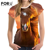 FORUDESIGNS 3D Animal Horse Pattern T Shirt For Women Harajuku Style Female Short Sleeve Top Tees