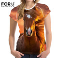 FORUDESIGNS 3D Animal Horse Pattern <font><b>T</b></font> <font><b>Shirt</b></font> for Women Harajuku Style Female Short Sleeve Top Tees Comfort Crossfit Tee Camiseta