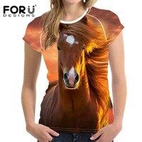 FORUDESIGNS 3D Dier Paard Patroon T-shirt voor Vrouwen Harajuku Stijl Vrouwelijke Korte Mouwen Top Tees Comfort Crossfit Tee Camiseta