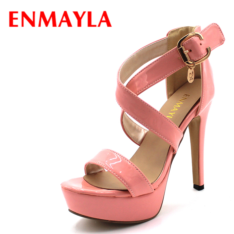 ENMAYLA Summer Women Shoes Sexy Extreme High Heels Sandals Women Platform Sandals Buckle Gladiator Sandals Lady Shoes phyanic 2017 gladiator sandals gold silver shoes woman summer platform wedges glitters creepers casual women shoes phy3323