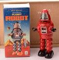 Rojo Retro Robot Clockwork Toy Vintage Estaño Hojalata Terminan Juguetes Para Niños Artes Hechos A Mano de La Vendimia