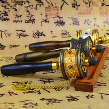 Exquisite Tibetan Supplies Nepal Alloy Metal Six Words Scriptures Carving Hand Cranking Swept Bad Things Buddhist